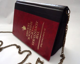 The Adventures of Sherlock Holmes Book Purse Red Bag Clutch - Upcycled Book