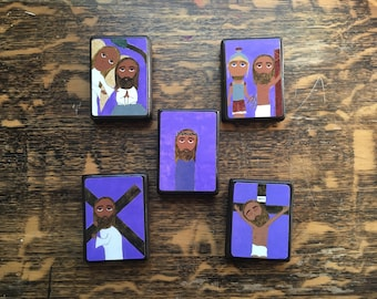 """Full set of 5 Sorrowful Mysteries of the Rosary in Byzantine/ Folk Style on 2.5"""" X3.5"""" wood by DL Sayles"""