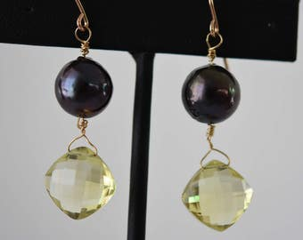 Wear anywhere stylish black iridescent pearl  and citrine YG filled wire wrapped earrings