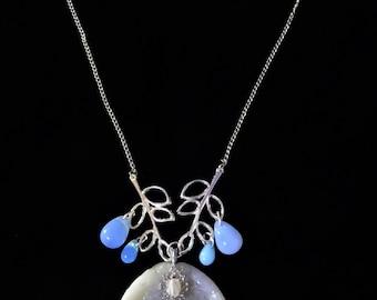 Iridescent Opal Mermaid Tail Necklace Mermaid Jewelry Ocean Jewelry Beach Jewelry Fantasy Jewelry OOAK Jewelry Mermaid Necklace Gypsy Boho