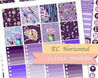 HORIZONTAL PLANNER STICKERS, ec horizontal stickers, printable horizontal, blingblingplanner, planner sticker kit, glam stickers, lavender