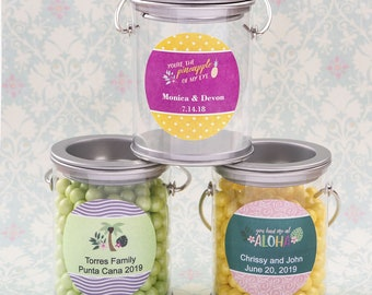 50 Personalized Tropical Silver Mini Paint Can - Set of 50