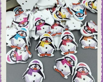 Set of 5 wood Penguin buttons