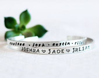 Name Bracelet For Mom,  Personalized Jewelry For Mom,  Jewelry For Mom, Custom Jewelry For Grandma, Silver Engraved Cuff, Kids Names Jewelry