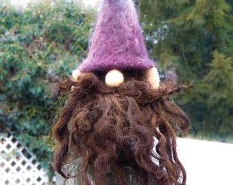 Woodland Gnome Tomte with Dark Purple Hat and Wild Brown Beard, Shelf Sitter Forest Gnome