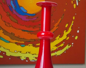 Holmegaard Carnaby Vase Red Danish Modern Mid Century Denmark Per Lutken Glass Candle Holder POP Art Scandinavian Retro