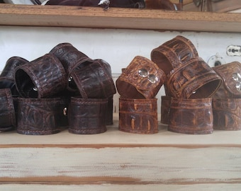 Croccodile print embossed leather cuffs!