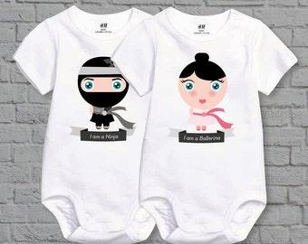 Twins Set - Boy and Girl Organic Cotton Baby Bodysuit - Ninja / Ballerina - Cute & Funny - Baby Shower Gift - Newborn