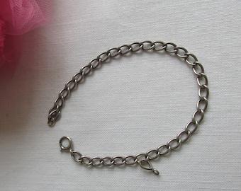 Charm Bracelet - Sterling Silver - Solid Link - Vintage