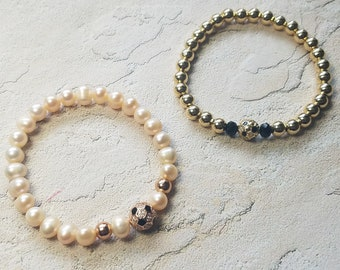 Freshwater Pearls and Gold Filled Beads Soccer Bracelets