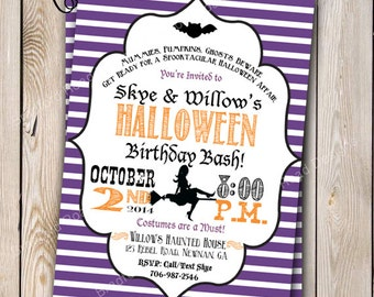 Halloween Party Invitation Halloween Costume Party Halloween Birthday Party Invitation Witch Customizable 5x7 Invitation