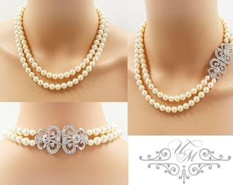 Wedding Jewelry Double Strands Swarovski Pearl Necklace Bridal Necklace Bridesmaids Necklace Vintage Rhinestone Necklace - JANICE