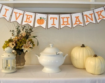 PDF: GIVE THANKS Bunting, Give Thanks Banner, Thanksgiving Home Decor, Thankgiving Crafts, Place Cards, Craft Kit - Instant Download