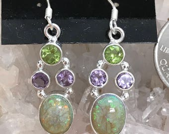 Opal, Peridot and Amethyst Abstract Earrings