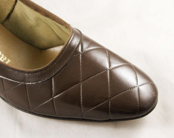 1 Heel 60s Never Leather Worn Beautiful 9AA 2 Brown Size Cocoa 47689 Inch Deadstock Top Pumps Quilted 9 1960s Shoes Stitching 5 1qpxw1rTn