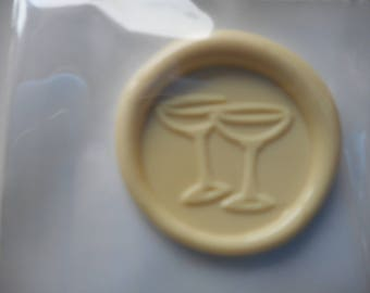 Set of 3 sticky wax stamps - representing champagne goblets