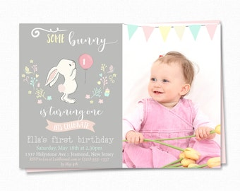 First Birthday Party Invitation -  Bunny Birthday Invitation - Girls Birthday Invite - Bunny Party Birthday Invite - Rabbit Birthday Invite