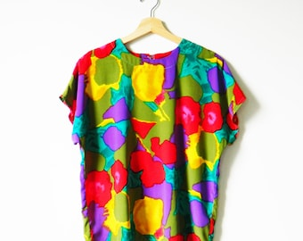 Abstract Floral Vintage Boxy Blouse / Crazy Colorful Floral Top / 80s Slouchy Rainbow Floral Blouse