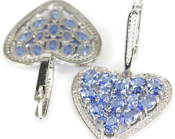 Sterling Silver Rich Blue Violet Tanzanite Gemstone Heart Drop Earrings With AAA White CZ Accents
