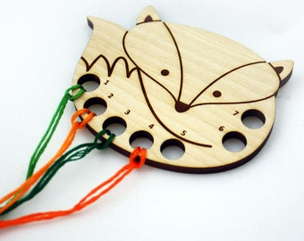 Fox Embroidery Floss Thread Organizer / Keeper, Laser Cut Wood, Cross Stitch