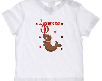 baby seal personalized with name t-shirt
