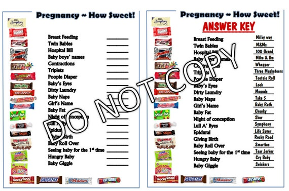 Baby Shower Game Pregnancy How Sweet Candy Bar Game Pdf