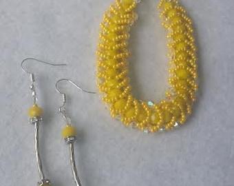 Beautiful yellow hand weaved bracelet! Free shipping!