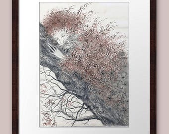 Art prints Pencil Drawing Illustration Landscape Tree Hand painted Grafics Homedecor Walldecor Originalart Traditionalart buy art for home