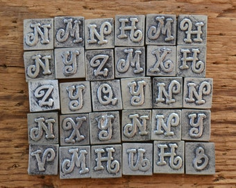 Silver Gray Alphabet Letter Assorted Scrapbooking Tiles - Lot of 65