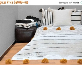 ON SALE 20% Moroccan Pom Pom Blanket Handwoven by Artisans in Morocco on Traditional Wooden Looms, from 100 Percent Cotton, #MC004