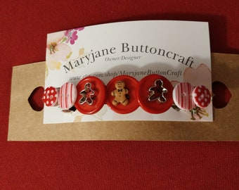 Christmas Barrette, Christmas gift, Red Barrette, Button Barrette, Gingerbread Barrette