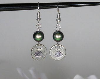 Lotus Stamped Earring with Crystal Scarabaeus Green Pearl