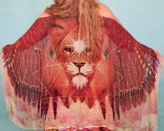 Lion Scarf - Bohemian Clothing - Festival Clothing - Lion  - Lion Print - Wing Scarf - Sarong - Shawl - Holiday Clothes