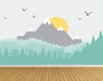 Nursery Wall Decals- Wall Decals-Peel n Stick Wall Mural Decals-Mountain Wall Decals-Mountain, Forest Wall Decal-e192
