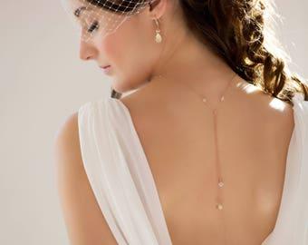 gold back Necklace, lariat chain, Backdrop Silver, rose gold, Swarovski crystal, wedding,bridal, Gatsby, vintage inspired, Choker, brides,