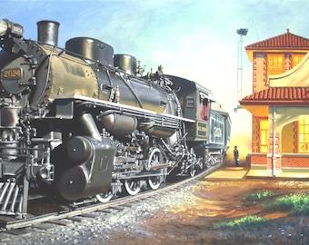 TRAIN station 11 x 17 print (image 8.25 x 16.5) by artist RUSTY RUST / M-390-P