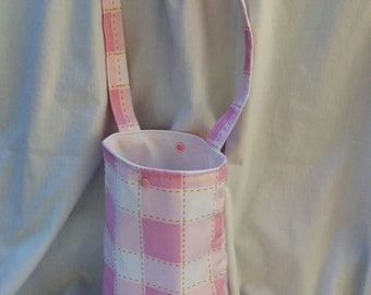 Pink and White Checks-Reusable Car Litter Bag-Car Storage-Bin-Eco Friendly-Stylish-Washer Dryer Safe-Vehicle Auto Bag-Snap Straps