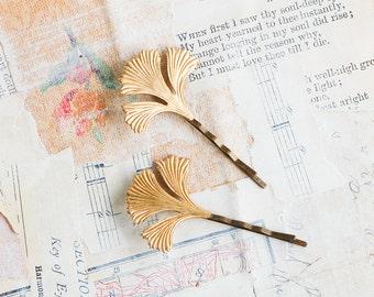 Leaf Bobby Pins, Gold Ginkgo Leaf, Autumn Wedding, Gold Leaf Hair Pins, Woodland Garden Wedding, Bridal Hair, Gift for Her, Ginkgo Leaves