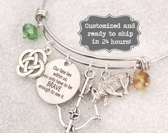 Merida Engraved - Our Fate Lies Within Us You Only Have To Be Brave, DISNEY Inspired Bracelet, Custom Name Charm Bracelet, Adjustable Bangle