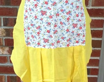 Mid Century Hostess Half Yellow Floral Apron 1950s