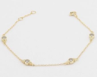 Bezel Cz Diamond bracelet, Cz charm bracelet, 18k Gold plated, 925 Sterling Silver, Delicate everyday bracelet, Tiny crystal bracelet, Gift