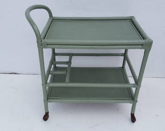 Vintage Two Tier  Rattan  Bar Cart.