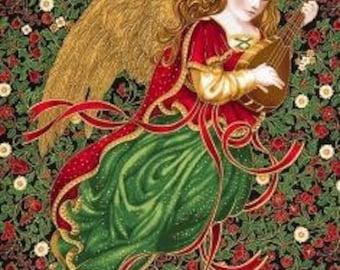 Christmas fabric panel - Robert Kaufman Holiday Flourish 9 - angel fabric - gold metallic fabric #17045