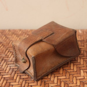 Vintage 1950s European Military Belt Single Pouch / Ammo / Medium - Dark Brown / Leather / *Steampunk*
