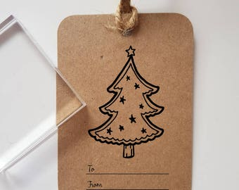 Tree Christmas Gift Tag Rubber Stamp