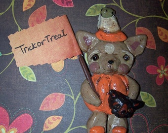 Whimsical Folk Art Boutique Halloween Chihuahua Dog Ornament Sculpture Vintage Style