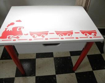 School desk stenciled red train