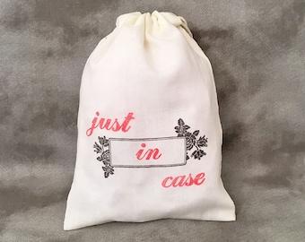Just in Case - Bachelorette Gift - Hangover Kit - Bridesmaid Gift - Wedding Survival Kit - Wedding Rehearsal favor - Set of 10 Organic Bags