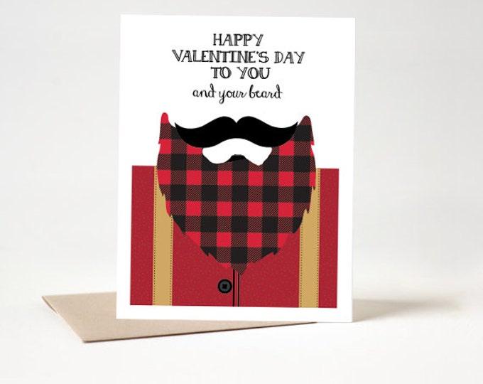 Beard Valentine's Day Card - Beard Card - Lumberjack Card - INSTANT Download DIY Printable PDF Kit
