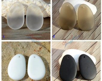 More Color~2pcs (33x20mm) SM White Black Hypnotic Pebble Cultured Sea Glass Beads~ Jewelry Making Supply~Beach Glass Recycled Pendant Beads
